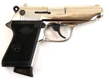Bruni 8mm PPK Nickel Blank Pistol