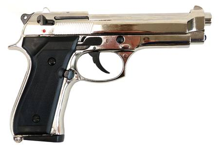 Bruni 8mm Beretta 92 Nickel Blank Pistol