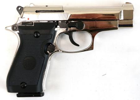 Bruni 8mm Beretta 85 Nickel Blank Pistol