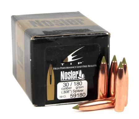 Nosler  30 Cal Projectiles 180gr E -Tip Spitzer