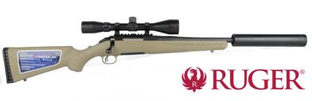 300 Blackout Ruger American Blued/Tan Synthetic with Suppressor and Ranger  Scope