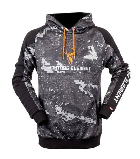 Buy Hunters Element Tungsten Hoodie: Black Camo in NZ.