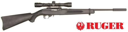 Buy 22 LR Ruger 10/22 Blued Synthetic Silencer 4x32 Scope Package in NZ.