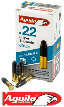Buy .22 LR Aguila 60gr Sniper Subsonic, Solid Lead Point in NZ New Zealand.